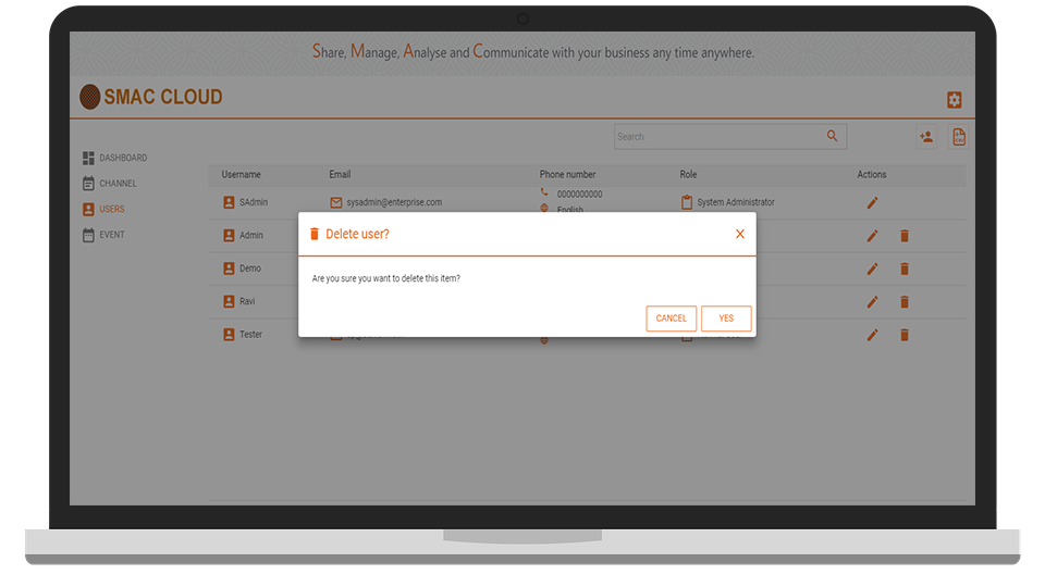 Delete User Details In SMAC Cloud