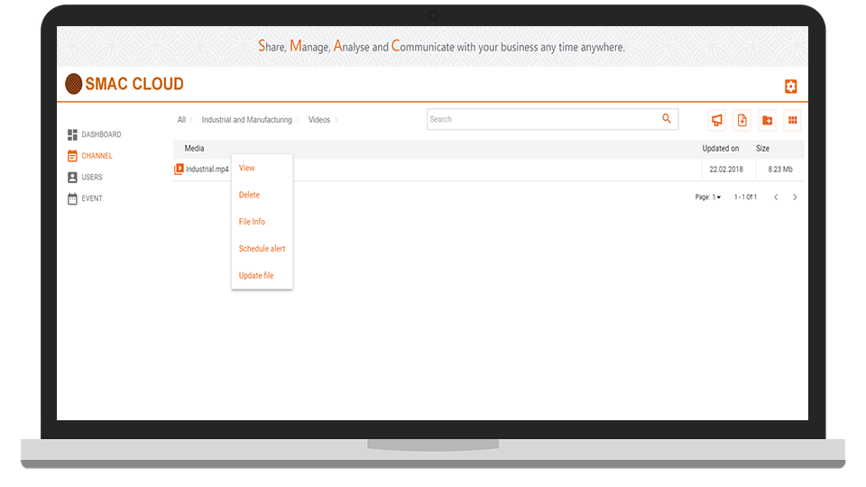 SMAC Cloud Channel Media View Screen