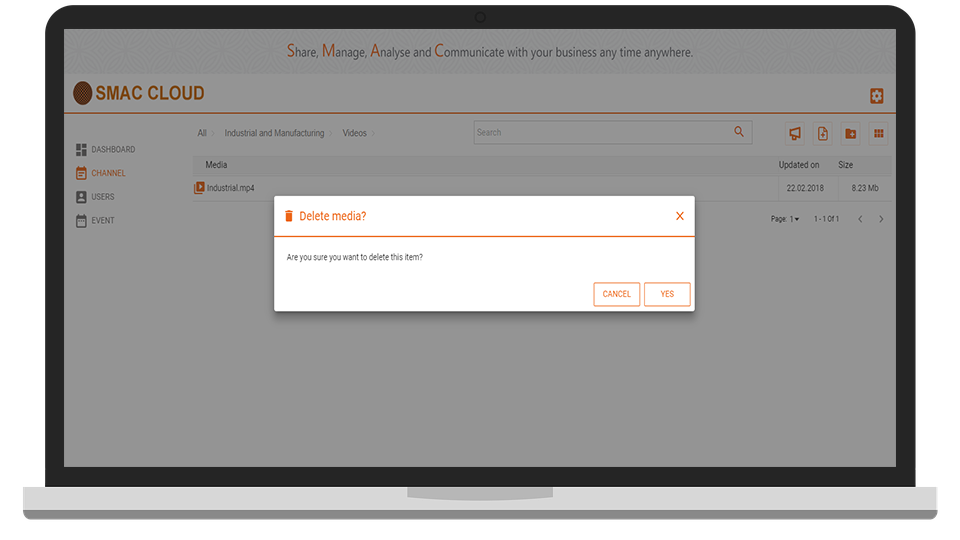 SMAC Cloud Delete Media Screen