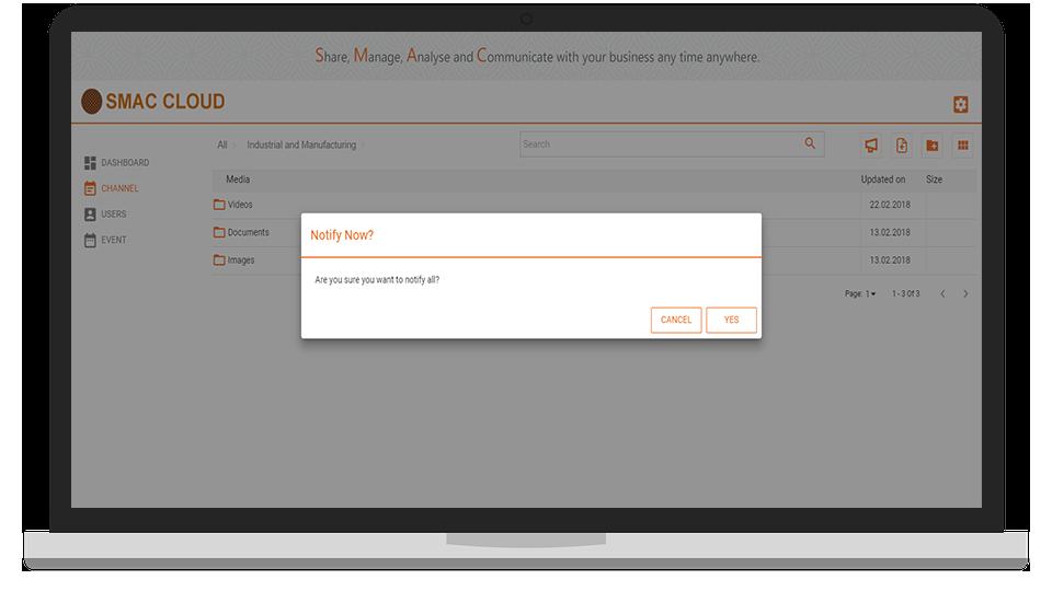 SMAC Cloud Notify Screen